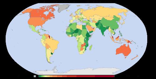 Átlagos egyéni karbonlábnyom országonként - Szénlábnyom